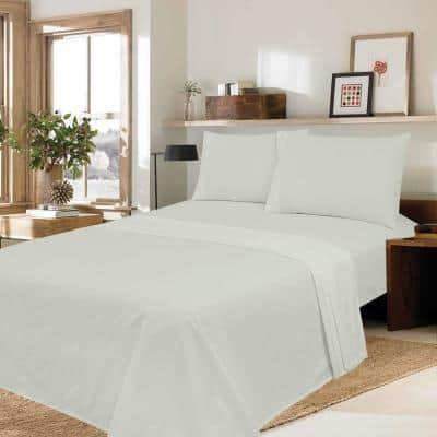 Silvadur Antimicrobial, Odor Eliminating, 4-Piece Light Grey Solid 300-Thread Count 100% Cotton Sateen Queen Sheet Set