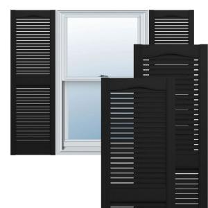 14-1/2 in. x 67 in. Lifetime Open Louvered Vinyl Standard Cathedral Top Center Mullion Shutters Pair Black