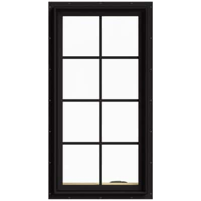 24 in. x 48 in. W-2500 Series Black Painted Clad Wood Right-Handed Casement Window with Colonial Grids/Grilles