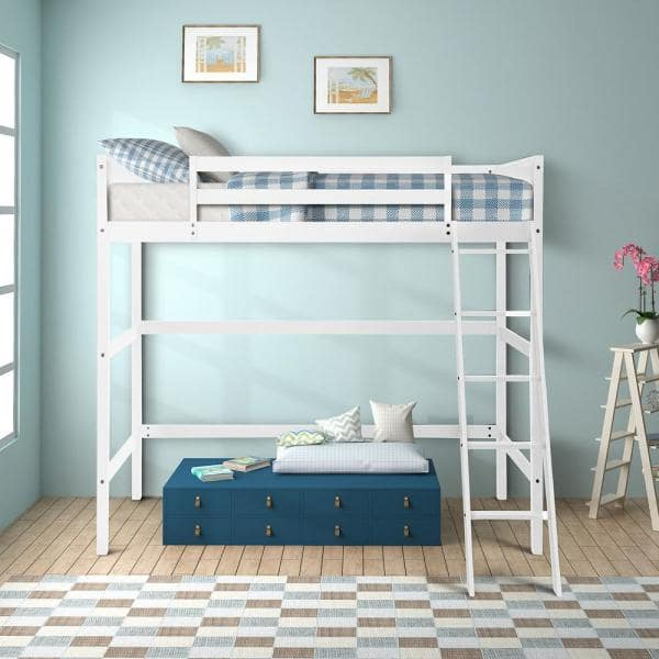 Boyel Living White Solid Wood Loft Bed Panel Style Bunk Bed Loft Bed With Side Angled Ladder Ly Wf191903aak The Home Depot
