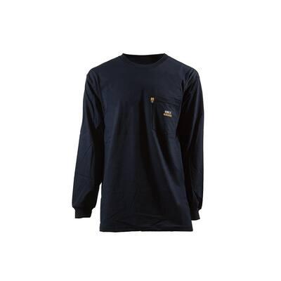 Men's Small Regular Navy 100% Cotton FR Crew Neck T-Shirt