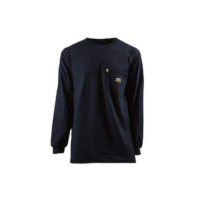 Men's Large Regular Navy 100% Cotton FR Crew Neck T-Shirt