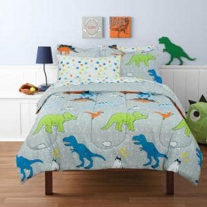 Dinosaur Walk Volcano Grey Full Size Bed in a Bag with Reversible Comforter