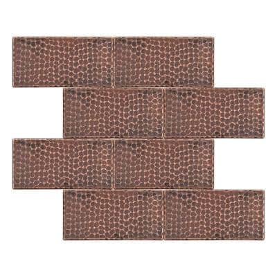 3 in. x 6 in. Hammered Copper Decorative Wall Tile in Oil Rubbed Bronze (8-Pack)