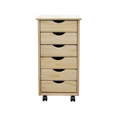 6-Drawer Solid Wood Roll Cart - Unfinished