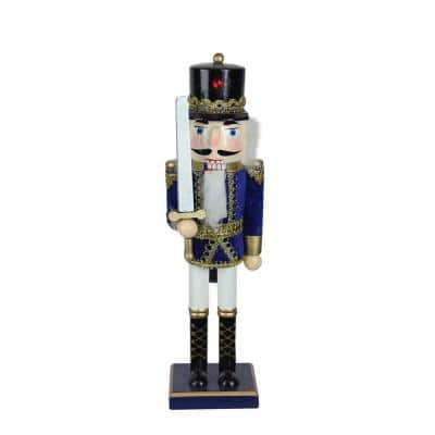 14 in. Wooden Blue, White and Gold Christmas Nutcracker Soldier