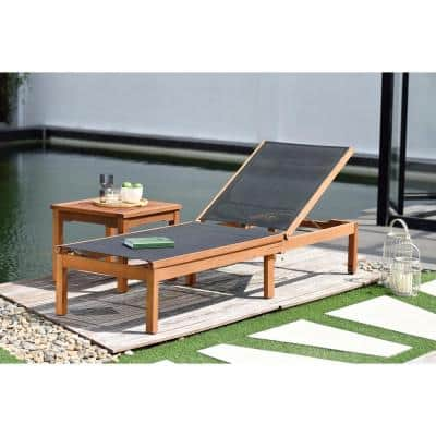 Eucalyptus Wood Outdoor Chaise Lounge