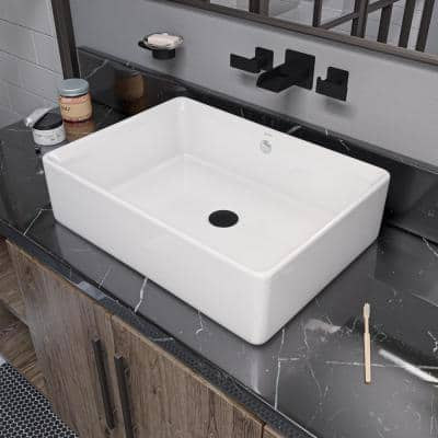 Rectangular Ceramic Vessel Sink in White with Overflow Cover
