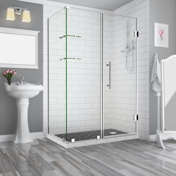 Aston Bromley Gs 56 25 To 57 25 X 32 375 X 72 In Frameless Corner Hinged Shower Enclosure With Glass Shelves In Chrome Sen962ez Ch 572332 10 The Home Depot