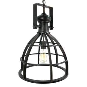 1-Light Black Farmhouse Pendant with Iron Frame