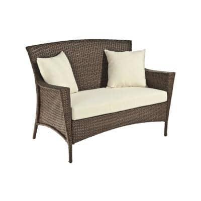 Galleon Collection Wicker Outdoor Patio Loveseat with Light Brown Cushions