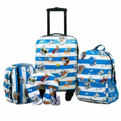 5-Piece Dog Print Kid's Luggage Set With Spinner Wheels Carry-On