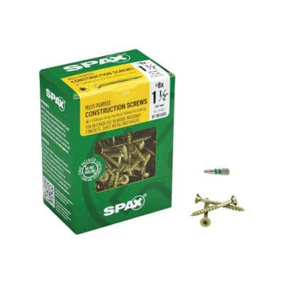 #8 x 1-1/2 in. T-Star Plus Drive Flat-Head Partial Thread Yellow Zinc Coated Multi-Material Screw (197 per Box)