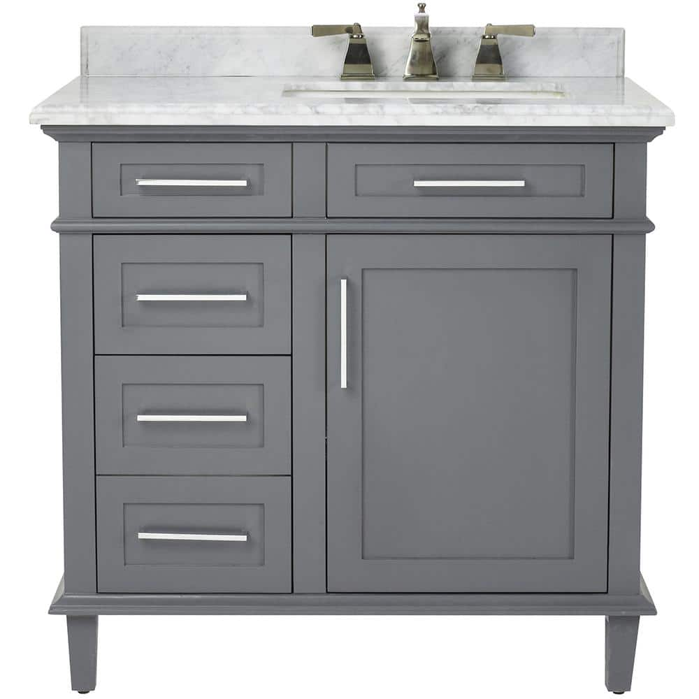 Home Decorators Collection Sonoma 36 In W X 22 In D Bath Vanity In Dark Charcoal With Carrara Marble Top With White Sinks 8105100270 The Home Depot