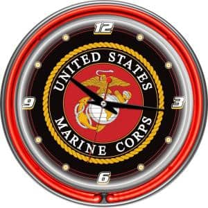 14 in. United States Marine Corps Chrome Double Ring Neon Wall Clock