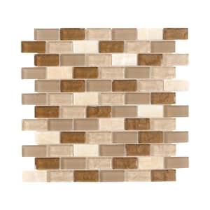 Honey Onyx Brick Beige 11.625 in. x 11.625 in. Interlocking Mixed Glass and Onyx Mosaic Tile (0.938 sq. ft./Each)