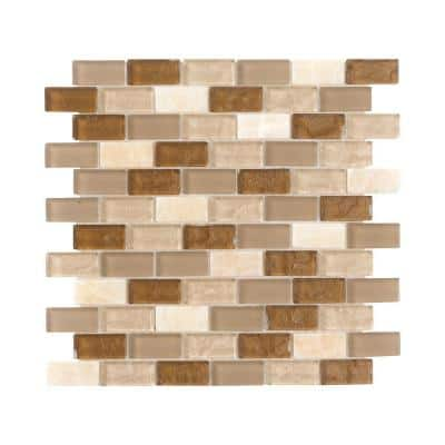 Honey Onyx Brick Beige 11.625 in. x 11.625 in. Interlocking Mixed Glass and Onyx Mosaic Tile (0.938 sq. ft./Each)