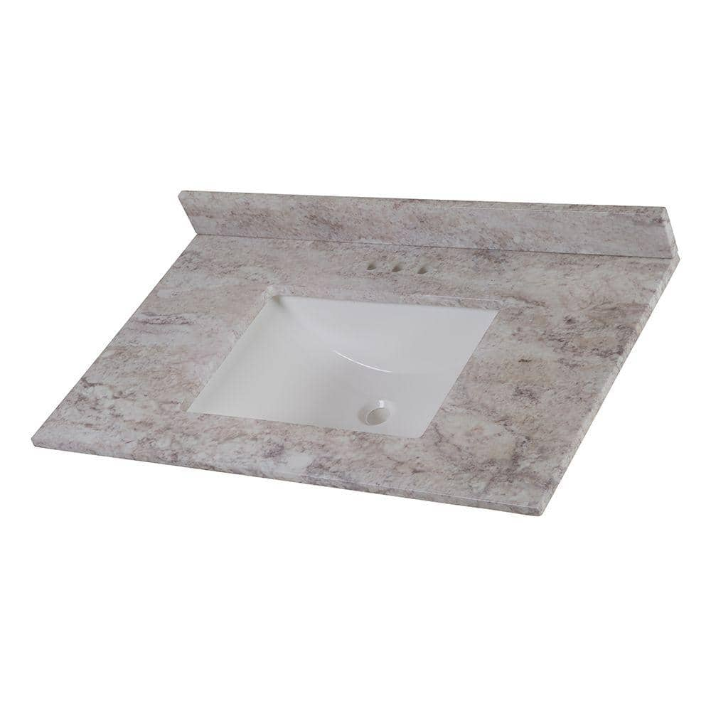 Home Decorators Collection 37 In W X 22 In D Stone Effects Vanity Top In Winter Mist With White Sink Serst37 Wm The Home Depot