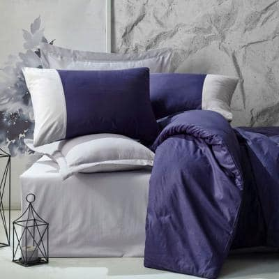 Midnight Thoughts Duvet Cover Set : Dark Blue, 1-Duvet Cover, 1-Fitted Sheet and 2-Pillowcases - Queen Size Duvet Cover