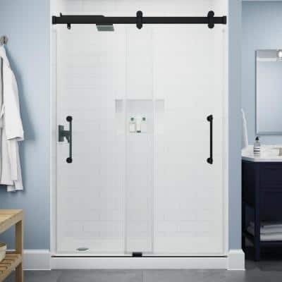 Paxos 60 in. W x 76 in. H Sliding Frameless Shower Door in Matte Black with 5/16 in. (8 mm) Clear Glass
