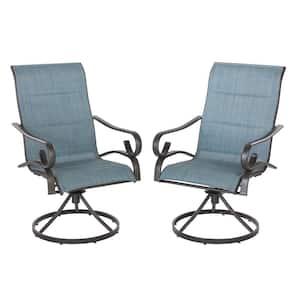 Crestridge Steel Padded Sling Swivel Outdoor Patio Lounge Chair in Conley Denim (2-Pack)