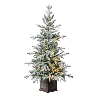 4.5 ft LED Pre-Lit Sugared Potted Artificial Christmas Tree with 100 Warm White Lights
