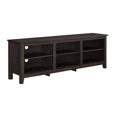 70 in. Espresso MDF TV Stand 70 in. with Adjustable Shelves