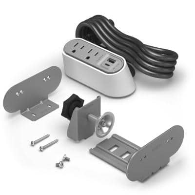 Wiremold 2-Outlet Desktop Power Strip Center Kit with USB A/C, 6 ft. Cord, White