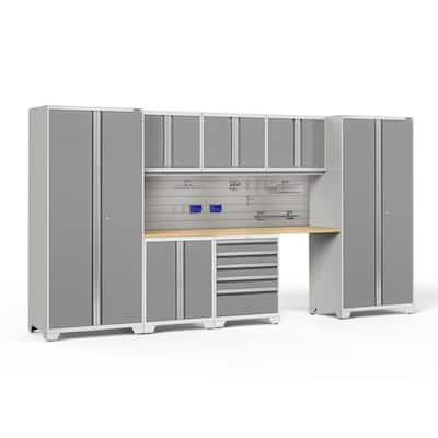 Pro Series 8-Piece 18-Gauge Steel Garage Storage System in Platinum (156 in. W x 85 in. H x 24 in. D)