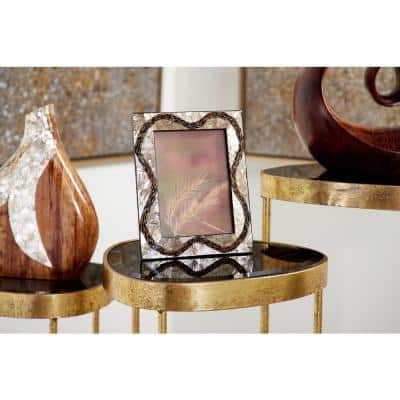 5 in. x 7 in. Inlaid Vervain and Gold Capiz Shell Large Picture Frame