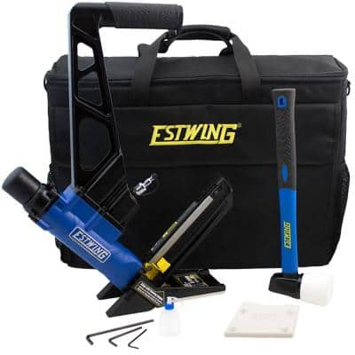 Pneumatic 2-in-1 15.5-Gauge and 16-Gauge 2 in. Flooring Nailer and Stapler with Bag