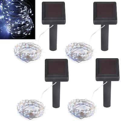 100-Light 20 ft.  Platinum Solar Integrated LED String Light (4-Pack)