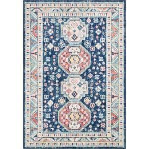 Ambra Blue 5 ft. 3 in. x 7 ft. 3 in. Medallion Area Rug