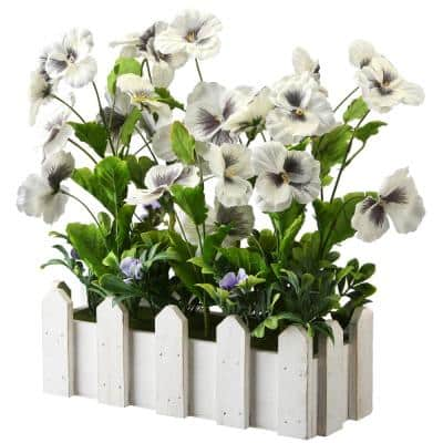 14 in. White Pansy Flowers in Planter
