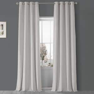Porcelain White Velvet Grommet Blackout Curtain - 50 in. W x 108 in. L