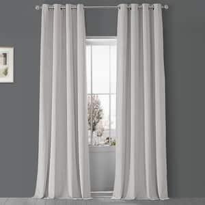 Porcelain White Velvet Grommet Blackout Curtain - 50 in. W x 120 in. L