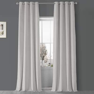 Porcelain White Velvet Grommet Blackout Curtain - 50 in. W x 96 in. L