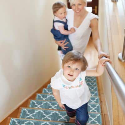 Trellisville Collection Teal 9 in. x 28 in. Polypropylene Stair Tread Cover (Set of 7)