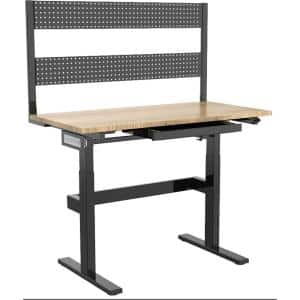 24 in. Natural Wood Motorized Work Bench with Adjustable Heights and Peg Board