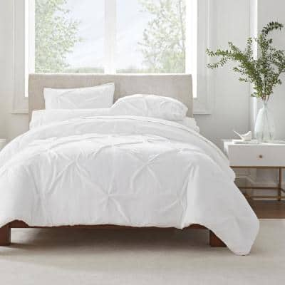 Simply Clean 3-Piece White Pleated Microfiber King Comforter Set