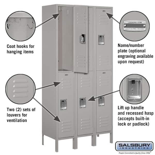 Salsbury Industries 62000 Series 36 In W X 78 In H X 15 In D 2 Tier Metal Locker Unassembled In Gray 62365gy U The Home Depot