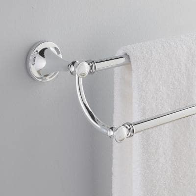 Silverton 24 in. Double Towel Bar in Polished Chrome