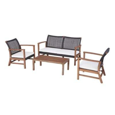 Clover Cay 4-Piece Wicker Outdoor Patio Conversation Seating Set With Off-White Cushions