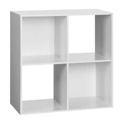 24.25 in. White Wood 4-shelf Cube Bookcase with Open Storage