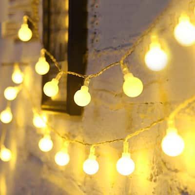 16.4 ft. 2.5-Watt Equivalence 40-Lights Globe LED Decorative Fairy String Light Battery Powered in Warm White (2-Pack)