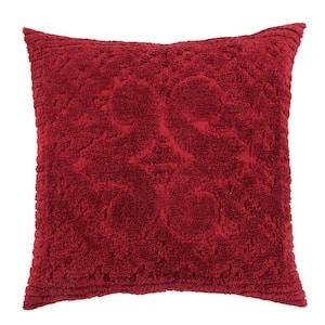 Ashton Collection in Medallion Design Burgundy Euro 100% Cotton Tufted Chenille Sham