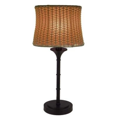 25.25 in. H Brown Outdoor/Indoor Table Lamp with Basketweave Shade