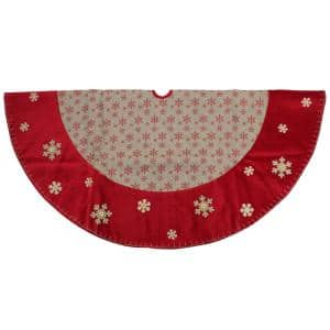 60 in. Burlap Glittered Snowflake Rustic Christmas Tree Skirt with Red Velvet Trim