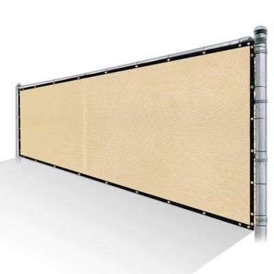 6 ft. x 12 ft. Beige Privacy Fence Screen Mesh Fabric Cover Windscreen with Reinforced Grommets for Garden Fence