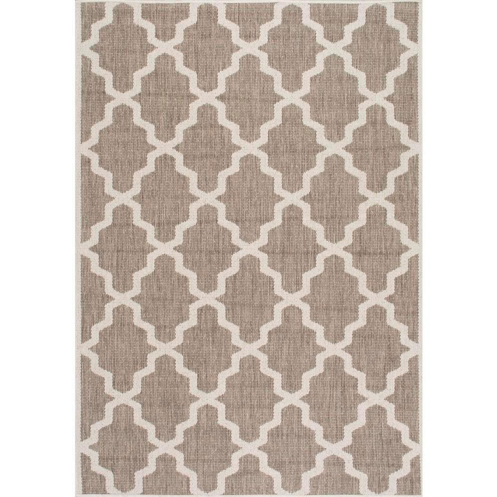 Nuloom Machine Made Gina Outdoor Moroccan Trellis Taupe 8 Ft X 11 Ft Area Rug Owdn06a 71001010 The Home Depot